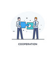 businessmen connect puzzle joint efforts success vector image vector image