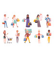 buyers retail supermarket buyers with shopping vector image