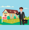 buying a new home the realtor shows house for vector image