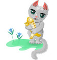 cat with a fish vector image vector image