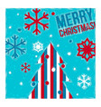 Christmas card tree and snowflakes vector image vector image