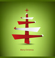 christmas card with abstract tree in red white vector image vector image
