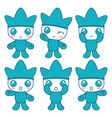 cute blue character vector image vector image