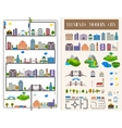 Elements of the modern city or village - stock vector image