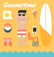 flat icons set summer holiday vector image