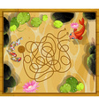 Game template with two fish in the pond vector image
