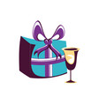 gift box present with cup vector image vector image