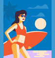 girl with surffing board vector image vector image