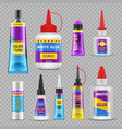glue sticks adhesive super glue tubes and bottles vector image vector image