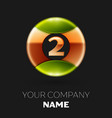 golden number two logo symbol in the circle vector image vector image