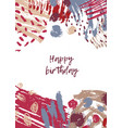 greeting card template with happy birthday wish vector image vector image