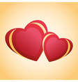 Greeting card with two red golden hearts vector image