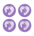 hair type icons set vector image vector image