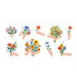 hands with flowers cartoon blooming bouquets vector image