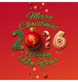 Happy New Year 2016 Greeting Card and Merry vector image