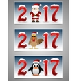 Happy New Year banner set with Santa Claus vector image vector image