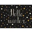 Hello winter Hand drawn invitation or greeting vector image