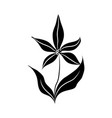minimalist tattoo flower silhouette art flourish vector image vector image