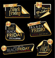 modern black friday labels golden 3 vector image