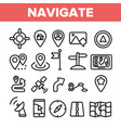 navigation linear thin icons set symbol vector image