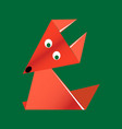 origami paper orange fox vector image