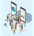 people crowd at exhibition trading promotion stand vector image vector image