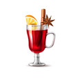 realistic mulled wine glass orange anise vector image