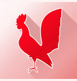 red rooster long shadow vector image vector image