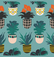 seamless pattern with colorful hand drawn flower vector image vector image