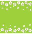 seamless white floral pattern on a green vector image
