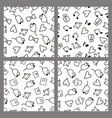 set monochrome patterns in the style hand drawing vector image