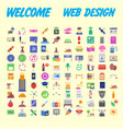 set of 100 flat web icons on following themes vector image