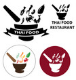 set of thai food restaurant logo vector image vector image