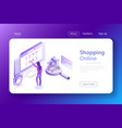 shopping online flat isometric concept vector image vector image