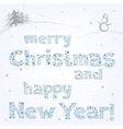 snow xmas text vector image vector image