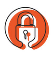 watercolor circular emblem silhouette of padlock vector image vector image
