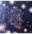 Winter greeting card with text on blurred vector image