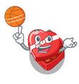 with basketball chocolate box heart above cartoon vector image