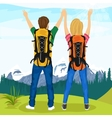 young couple of hikers standing on top of mountain vector image vector image