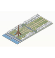 Isometric Eiffel tower and Champ de Mars vector image