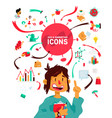 a set icons on theme business processes vector image