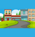 an outdoor scene with shops vector image vector image