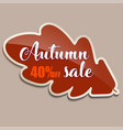 autumn sale banner with red oak leaf - 40 percent vector image vector image