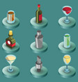 bar color isometric icons vector image vector image