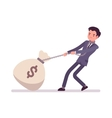 Businessman dragging a giant heavy money sack vector image