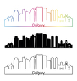 Calgary V2 skyline linear style with rainbow vector image vector image