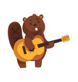cheerful little beaver playing on guitar cartoon vector image vector image
