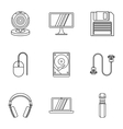Computer protection icons set outline style vector image vector image