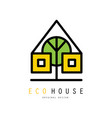 creative logo of eco house with windows and vector image