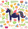 cute unicorn floral background seamless pattern vector image vector image